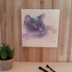 Cat Watercolor Print-Mounted on wood panel. 1 of 2